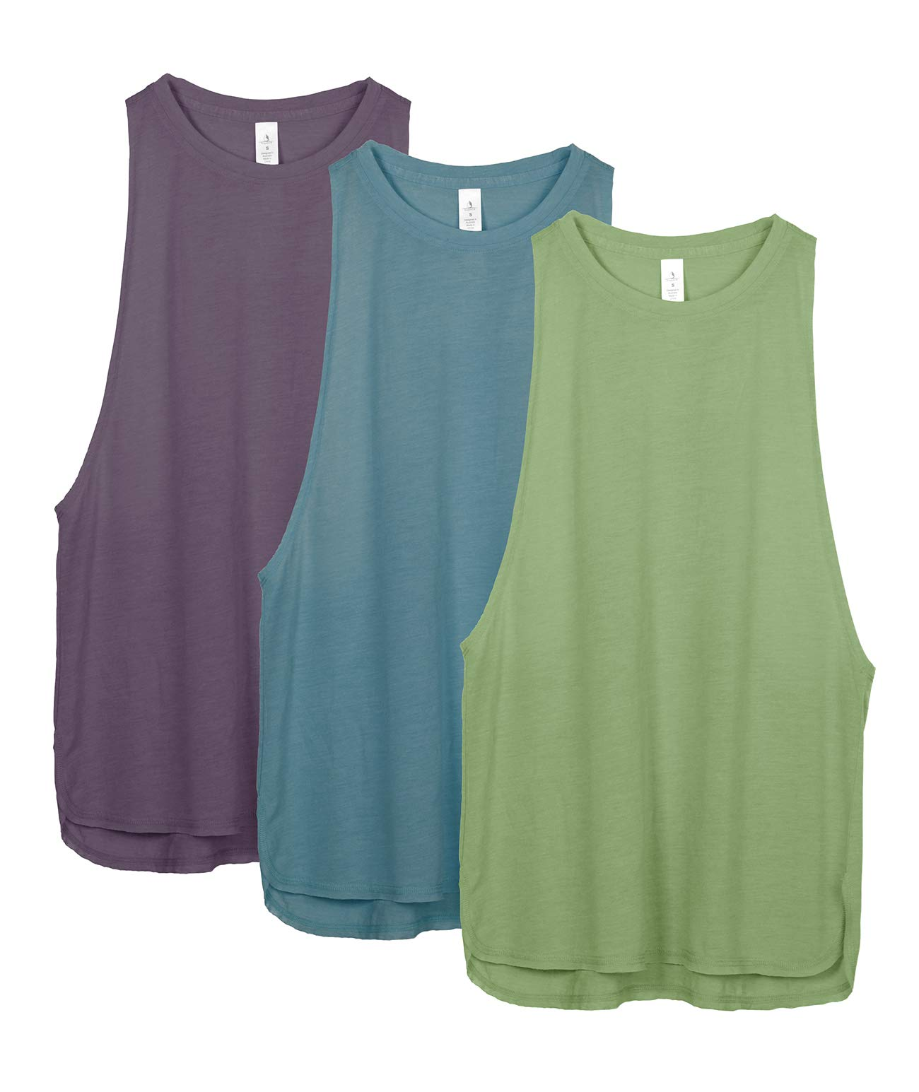 icyzone Workout Tank Tops for Women Running Muscle Tank Sport Exercise Gym Yoga Tops Running Muscle Tanks Pack of 3