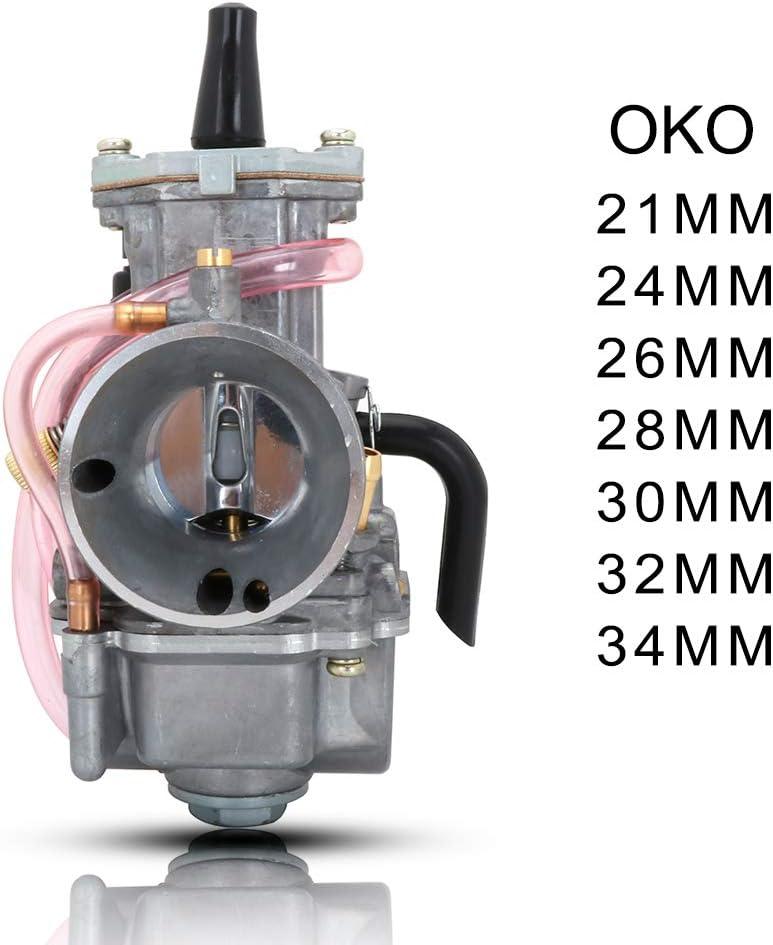 JFG RACING OKO Carburateur 34 mm pour Moto Hors-Route Honda Yamaha Suzuki Kawasaki K.T.M Keihin Koso PWK 200 CC 250 CC