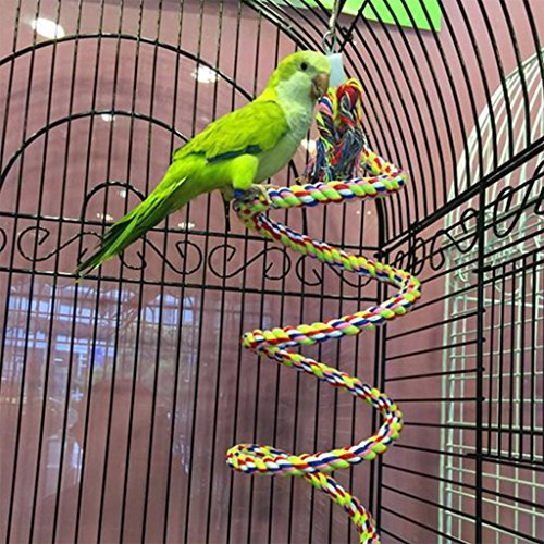 Birds Bell Pull - NNDA CO Pet Parrot Chew Rope Budgie Bell Bird Perch Coil Swing Cockatiel Cage Hang Toys,1m