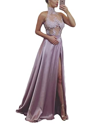 Ri Yun Sexy Side Slit See Through High Neck Mermaid Prom Dresses Long Evening Gowns 2018 For Women With Appliques at Amazon Womens Clothing store: