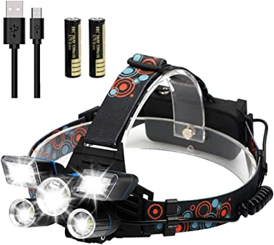 POWERGIANT Linterna Frontal LED Recargable, Alta Potencia Lámpara de Cabeza USB 9 Modos de Luz 5, IPX4 Impermeable para Ciclismo, Senderismo, Camping, ...