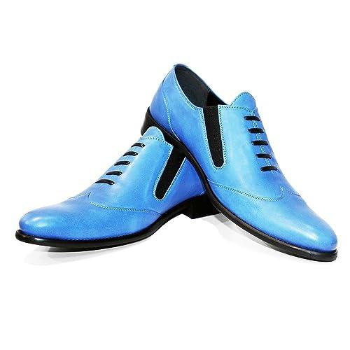 Modello Blukko - Cuero Italiano Hecho A Mano Hombre Piel Azul Mocasines y Slip-Ons Loafers - Cuero Cuero Suave - Ponerse: Amazon.es: Zapatos y complementos