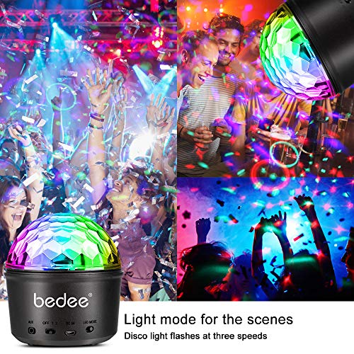 bedee Disco Lights, 9 LED Colors Sound Activated Disco Ball Lights, 7 Modes Mood Night Light for Kids, Rechargeable Wireless Party Lights with Remote Control & USB for Parties Birthday DJ Bar Club Pub