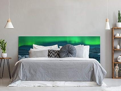 Imagen deOedim Cabecero Cama PVC Icebergs bajo la Aurora Boreal   150x60cm   Cabecero Ligero, Elegante, Resistente y Económico