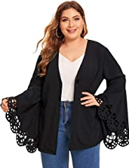 ROMWE Women's Plus Size Hollow Out Flounce Long Sleeve Blazer Single Button Solid Outerwear Coat