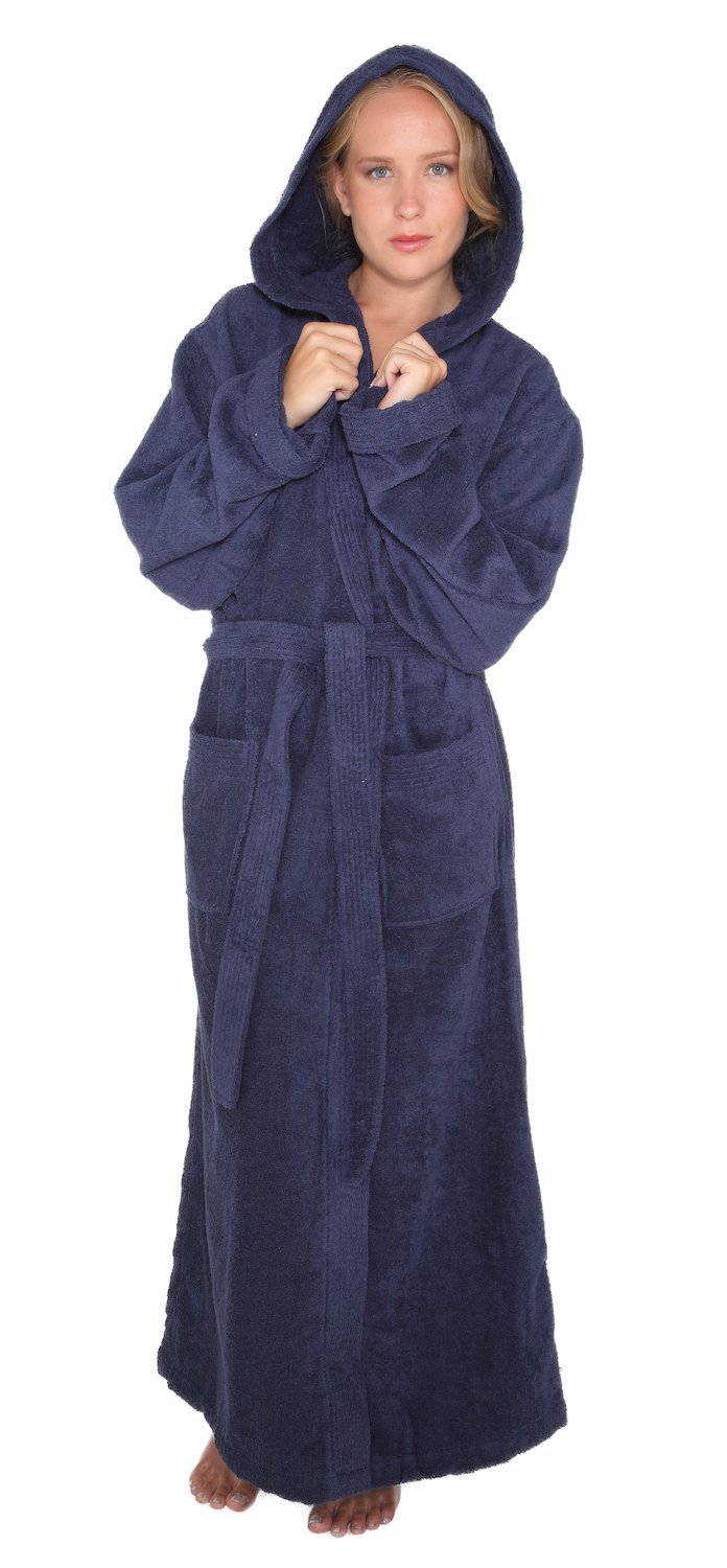 Arus Women's Pacific Style Full Length Hooded Turkish Cotton Bathrobe S/M Navy Marine