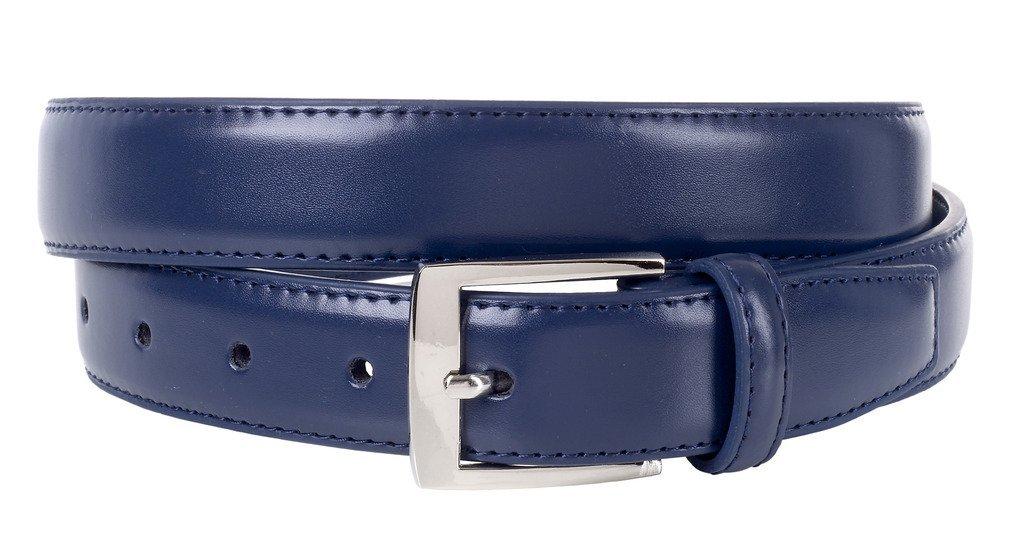 Sportoli Mens Classic Genuine Leather Metal Buckle Uniform Casual or Dress Belt - Navy (38)