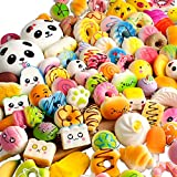 BUDI 30 Pcs Kawaii Squishies Slow Rising Jumbo/Medium/Mini Random Cake Bread Panda Bun with Phone Straps Kids Pretend Play Squishy Charms