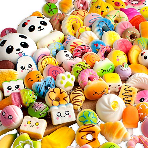 BUDI 30 Pcs Kawaii Squishies Slow Rising Jumbo/Medium/Mini Random Cake Bread Panda Bun with Phone Straps Kids Pretend Play Squishy Charms ()