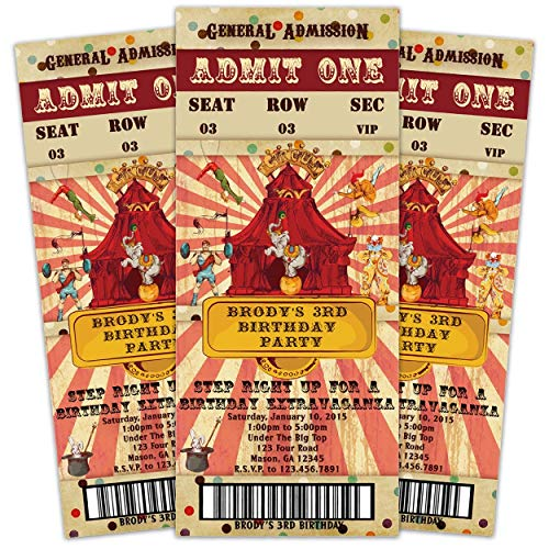 Vintage Circus Birthday Invitations Admission Ticket Boy Girl ()