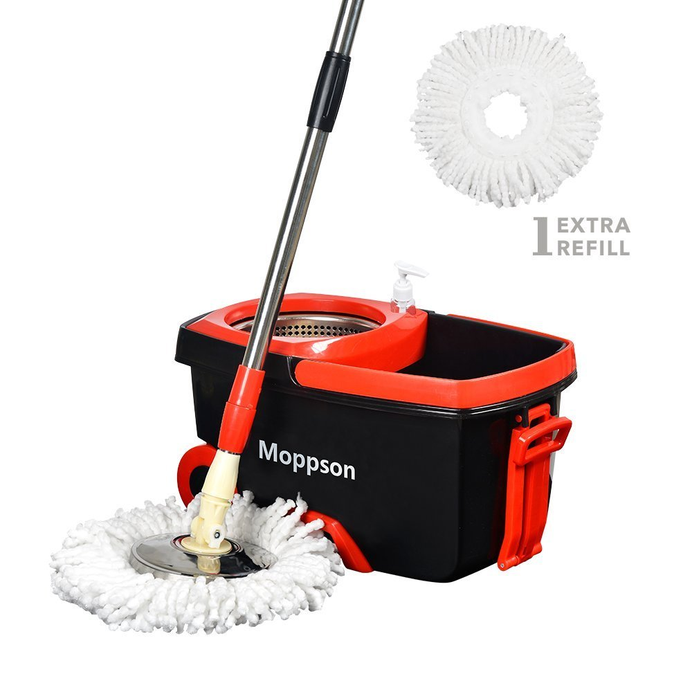 Spin Mop Bucket System - Moppson Stainless Steel 360 Spin Mop with Extended EasyPress Handle and 2 Microfiber Mop Heads, Bucket with Wheels and EasyWring Dryer Basket For Home Kitchen Floor Cleaning