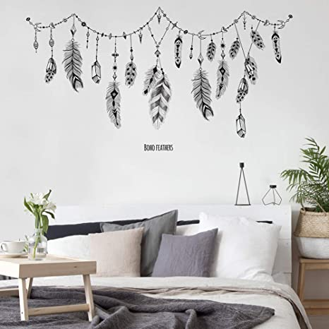 Amazon Com Constr Self Adhesive Stickers Wall Decor Feather Banner String Pattern Wall Sticker Wallpaper Poster Living Room Bedroom Home Decoration Accessories Kitchen Dining
