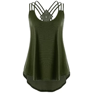 7a20866f742 Ghazzi Women Pleated Scoop Neck Sleeveless Summer Tank Tops Ladies Plain  Casual Vest Blouse (Army