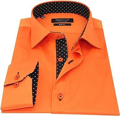 Equipada Mango Naranja unida pequeña Col 1 botón oposiciones Lunares Blanco Negro Camisa de los Hombres - S, Naranja: Amazon.es: Ropa y accesorios