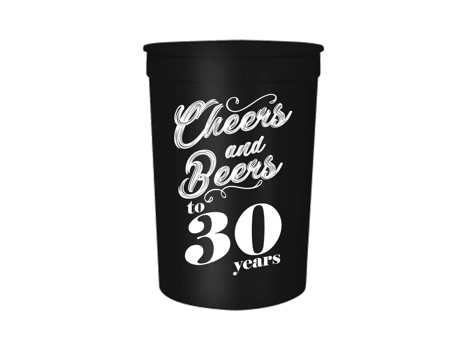 Perfect for Birthday Parties 40th Birthday Decorations Set of 12 and 60th Birthday Cups 40 Cheers and Beers to 30,40,50,60 Years Birthday Party Cups 16oz Black and White Stadium 30th 50th