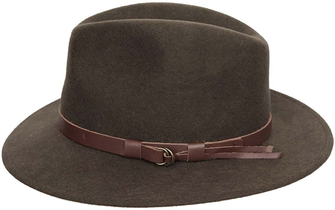 Classic Italy Classique Traveller Wool Felt Fedora Hat Packable Size 60 cm Olive