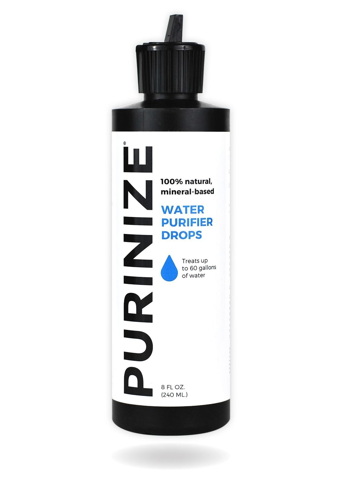 PURINIZE - The Best and Only Patented Natural Water Purifying Solution - Chemical Free Camping and Survival Water Purification (8 oz) by PURINIZE