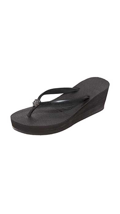 2e0e66bfe Havaianas Women s High Fashion Poem Wedge Rubber Flip Flop Black-Black-3