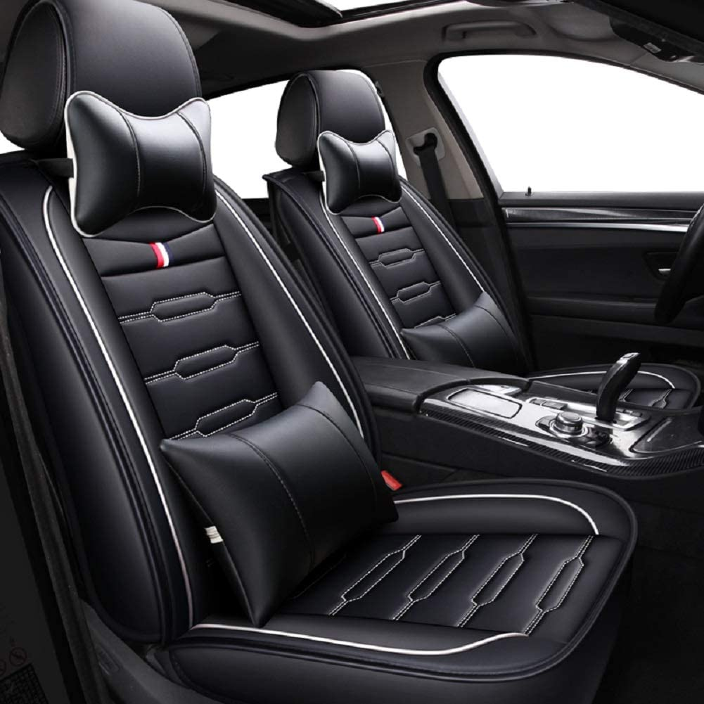 Black Full Set Universal Fit 5 Seats Car Seat Covers Leatherette Seat Covers Waterproof Breathable 5 Seats Full Set Front Back Cover 12 PCS or Van Fit Most Car SUV