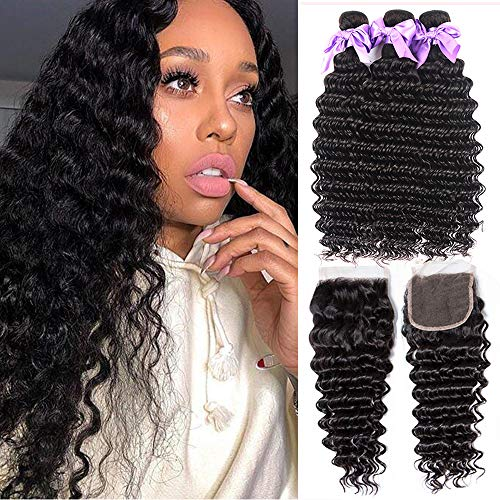 8A Unprocessed Virgin Hair Deep Wave Human Hair Bundles With Closure Brazilian Virgin Hair 3 Bundles With Closure Free Part Wet and Wavy Hair Bundles With Closure 100% Human Hair (28 28 28+20)