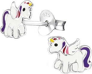 SL-Silver Kinder Ohrringe Buntes Einhorn 925 Sterling Silber in Geschenkbox