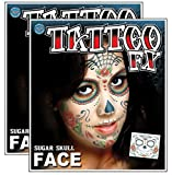 Day of the Dead Sugar Skull Full Face Temporary Tattoo Kit - Set of 2 Complete Kits