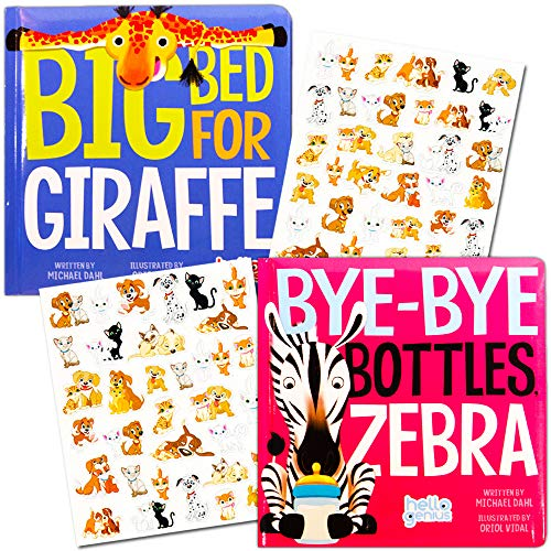 Hello Genius Board Books Set Baby Toddler - 2 Books with Stickers (Bye-Bye Bottles Zebra, Big Bed for Giraffe)