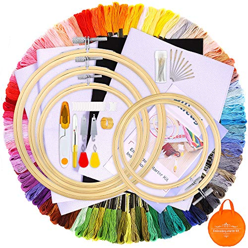 Pllieay Full Range of Embroidery Starter Kit Including Instructions, 100 Color Threads, 5 Pieces Bamboo Embroidery Hoops, 4 Pieces Aida Cloth, 1 Circular Package Bag and Cross Stitch Tools for Sewing