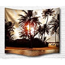 "A.Monamour 60"" x 60"" Tropical Island Palm Tree Seaside Scenery at Sunset Time Nature Graphic Print Wall Hanging Tapestry Wall Mural Decoration for Living Room Dorms"
