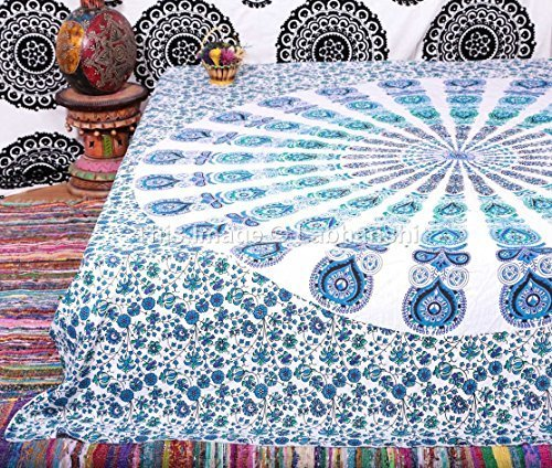 1 X Indian Peacock Mandala Tapestry ,Indian Wall Hanging ,Hippie Indian Tapestry,bohemian Wall Hanging,queen Bedspread Throw Decor Art by Labhanshi