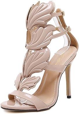 Beautyjourney Chaussures Femme Sandales Sandales Plates Strass Les Femmes Pompent Les Sandales /à Talon Haut De La Flamme Tongs Massantes