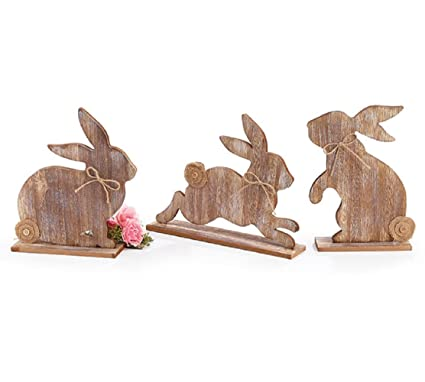Amazon Easter Bunny Shelf Sitter Set Of 3 Wooden Rustic Farmhouse Rabbits Home Decor Table Centerpiece Mantels Kitchen