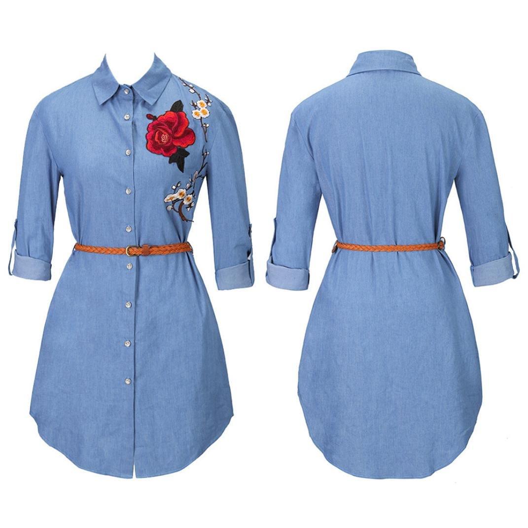 Koly Nuovo Camicia rcamata Manica Lunga Camice Lunghe del Collare del Vestito dalla Camicia del Collare ricamano Le Donne Lunghe del Manicotto Rosa