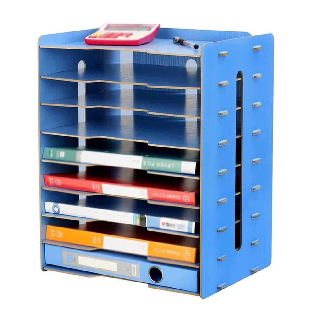 ZHANGLIXIANG WJG Desktop 9-Schicht-Datei-Halter, Holz-Multi-Layer-Bü ro Bü cherregal A3 Papier Aufbewahrungsbox Informationsbox A4 Drucker Frame (Farbe : B)