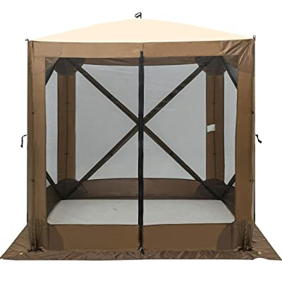 AyaMastro Portable Brown Pop Up 72Inches Square Gazebo Canopy Outdoor Mesh Panels Shelter Tent with Ebook : Garden & Outdoor