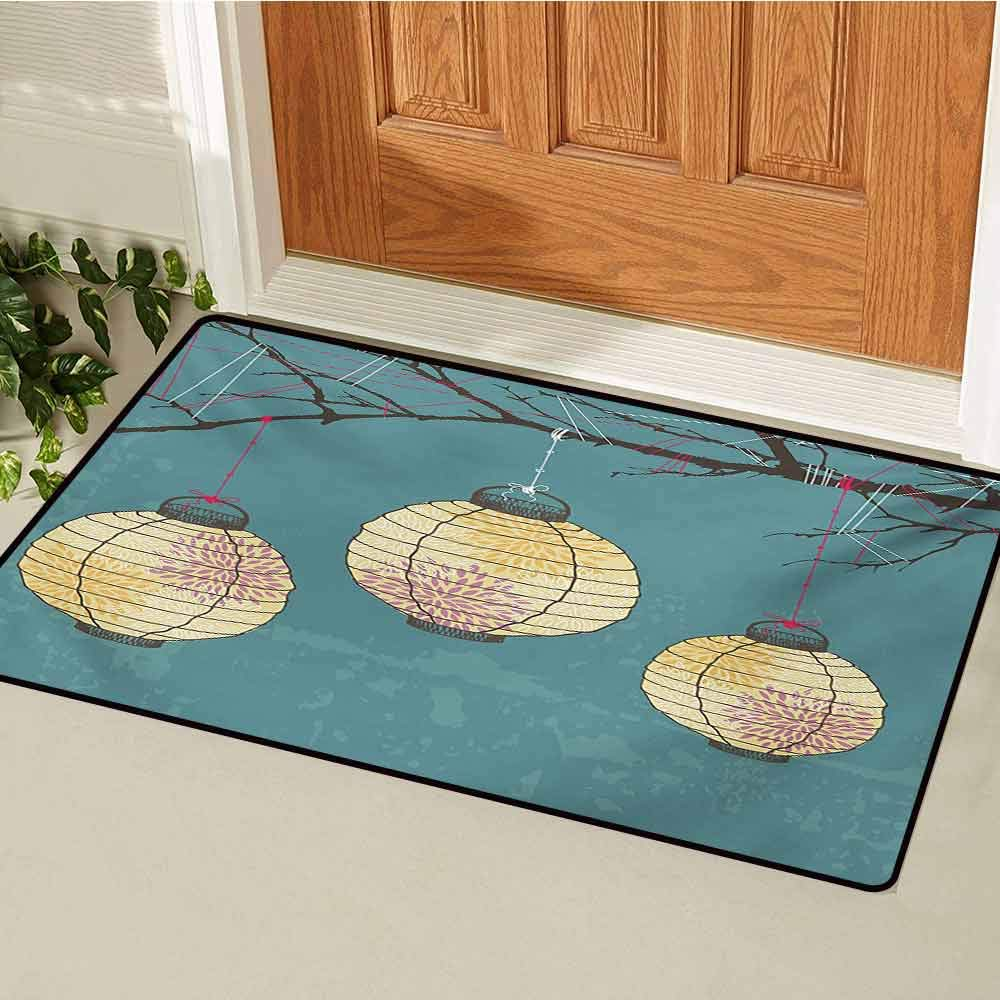 GUUVOR Lantern Commercial Grade Entrance mat Three Paper Lanterns Hanging on Branches Lighting Fixture Source Lamp Boho for entrances garages patios W31.5 x L47.2 Inch Teal Pale Yellow
