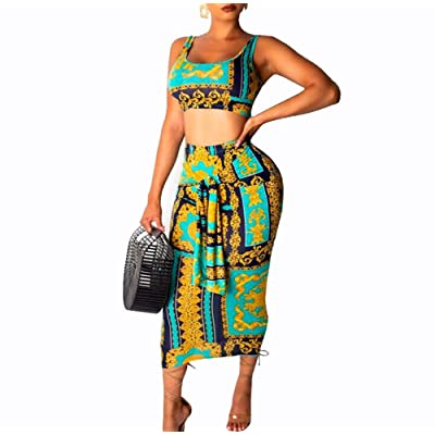 acelyn Womens Sexy Two Piece Skirt Outfits Print Mesh Bandage Tanks Crop Top and Bodycon Midi Dresses Set: Clothing