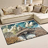 LORVIES Wonderful Street View Of Paris Eiffel Tower Area Rug Carpet Non-Slip Floor Mat Doormats for Living Room Bedroom 31 x 20 inches