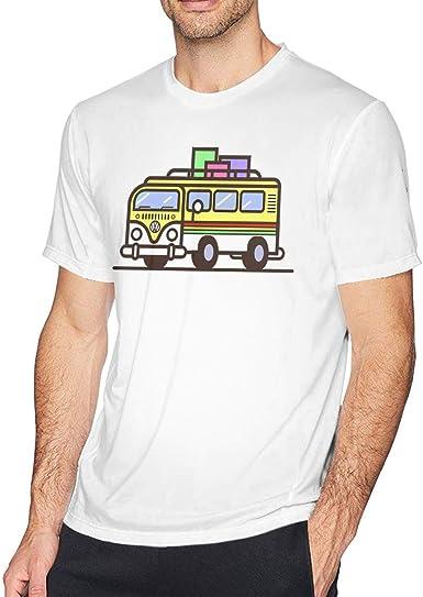 SUMT4men Camisa de Viaje Hippie Bus Cuello Redondo de Manga ...