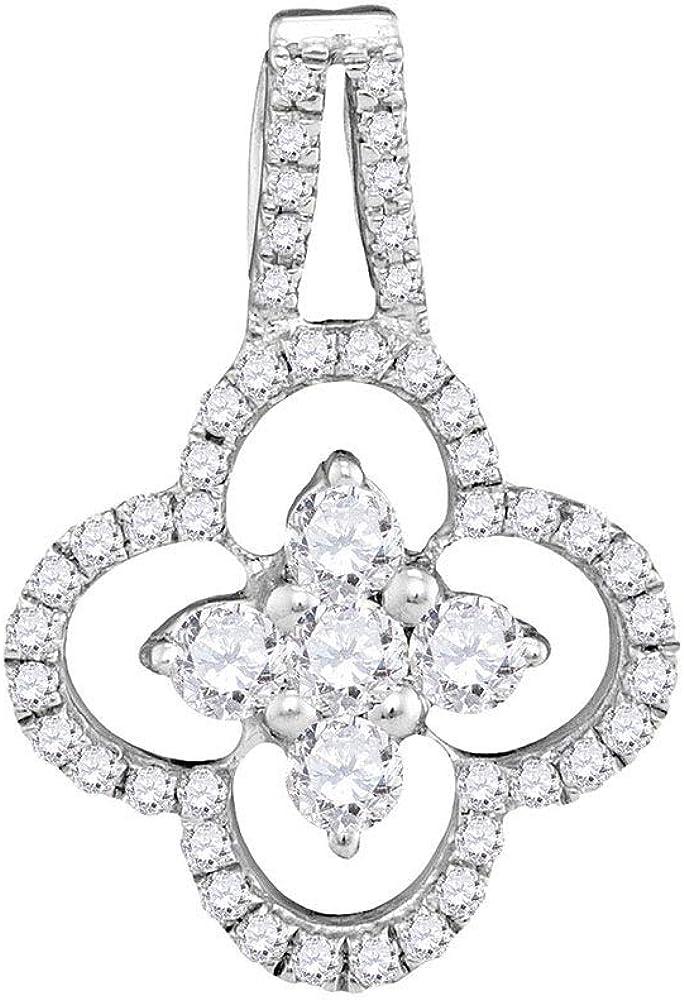 Colgante redondo de oro blanco de 10 quilates para mujer con diamante de cuarzo, 1/2 quilate