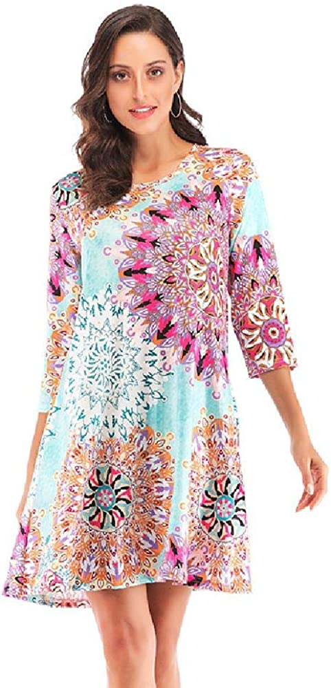 Spring/Summer 2020 Seven-Quarter Sleeve Ethnic Element Printed Large Pocket Lady Dress