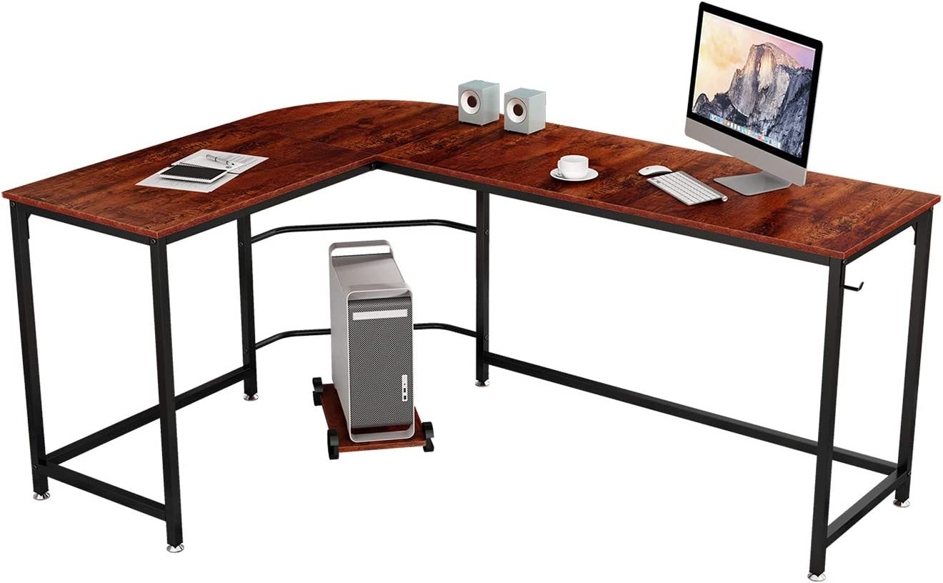 Brilliant Modern 66″ L-Shaped Corner Computer Desk Space-Saving Home Gaming Desk Sandalwood