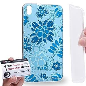 Case88 [HTC Desire 816] Gel TPU Carcasa/Funda & Tarjeta de garantía - Art Fashion Sky Blue Painted Fashionista Floral Art2039