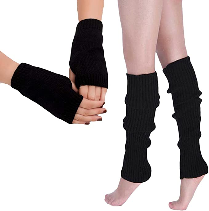 GIRLS  80/'S DANCE WEAR PLAIN RIBBED LEG WARMERS LEGWARMER FANCY DRESS