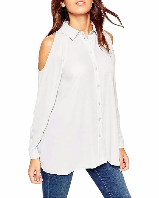 ZANZEA Mujeres Casual Elegante Chiffón Blusa Camiseta Abotonada Mangas Largas Abiertas blanco EU 38