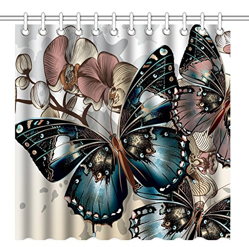 Wknoon 72 x 72 Inch Shower Curtain, Awesome Colorful Butterflies Art, Waterproof Polyester Fabric Decorative Bathroom Bath Curtains]()