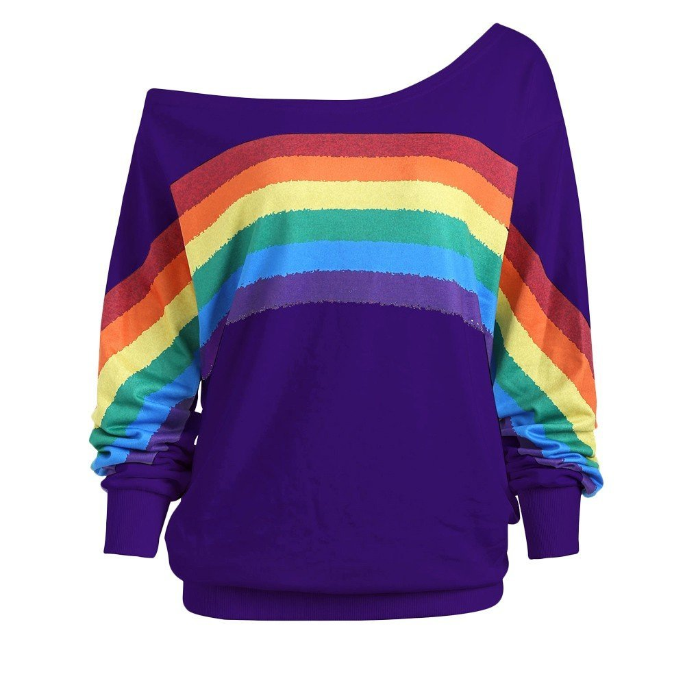 HHei_K Womens Sexy Loose Off Shoulder Long Sleeve Rainbow Print Pullover Sweatshirt