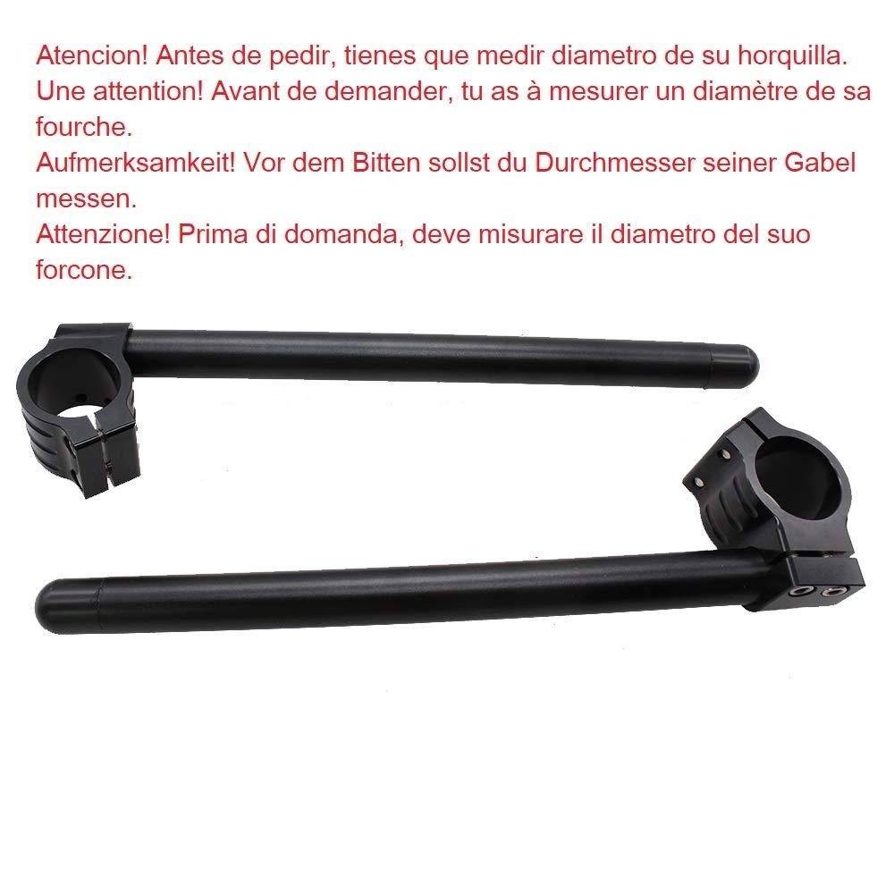 Moto semi-manubrio en aluminium forg/é avec pince de verrouillage lot de demi-guidon D 50mm