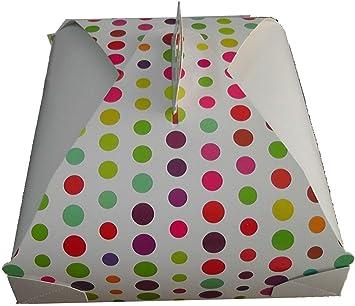 takestop® - Caja Porta Tartas de cartón Dulce con Lunares de Colores, 3 Unidades, Cajas de 29 x 29 cm, Papel para cumpleaños, Fiestas: Amazon.es: Electrónica