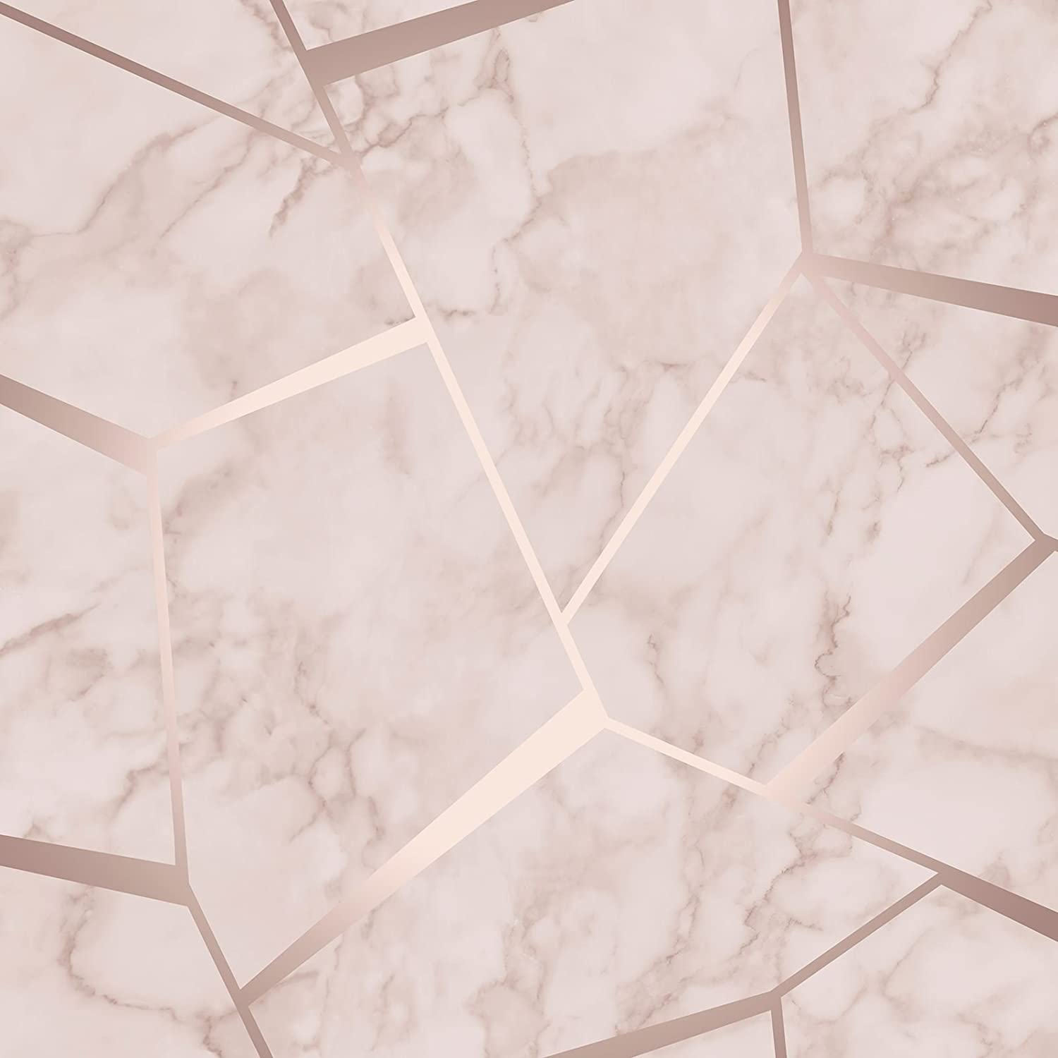 Fine Decor Fractal Geometric Marble Wallpaper Rose Gold Fd42264